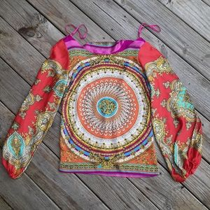 Arden B. colorful open back blouse